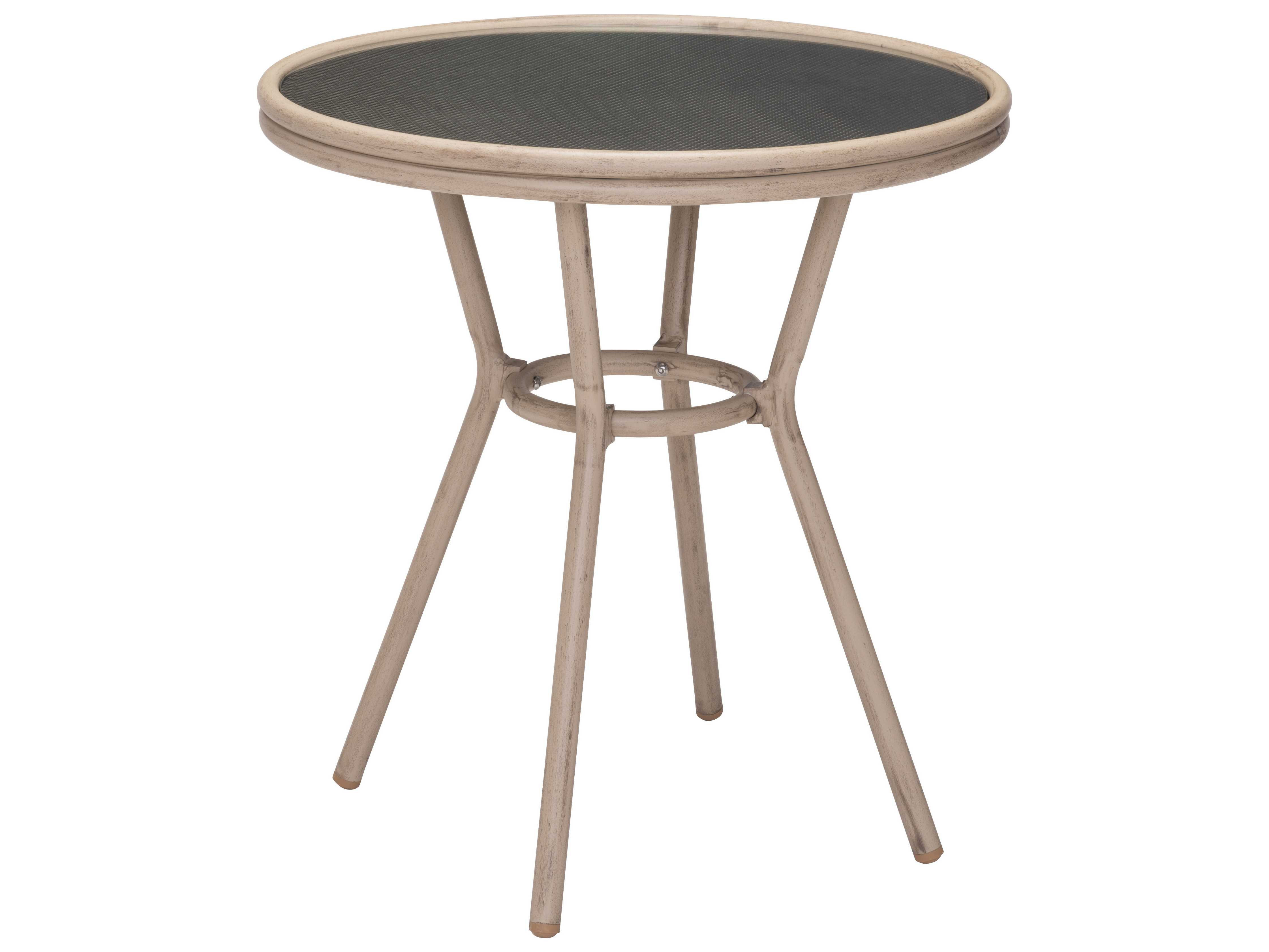 zuo outdoor marseilles aluminum round glass top bistro table dar in brown 703808. Black Bedroom Furniture Sets. Home Design Ideas