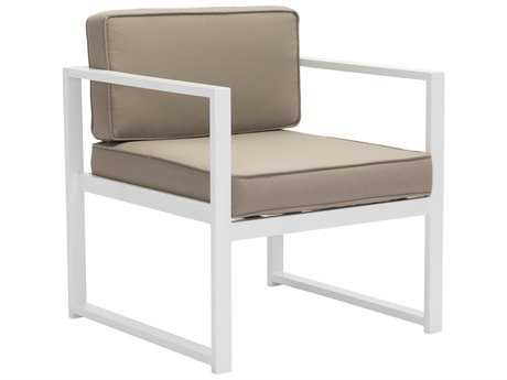 Zuo Outdoor Golden Beach Aluminum Arm Chair in White & Taupe (Sold in 2) - Sold in Multiples of 2 Only