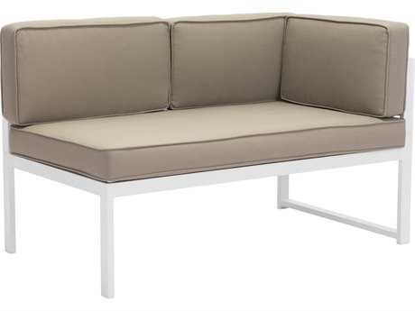 Zuo Outdoor Golden Beach Aluminum Chaise RHF in White & Taupe