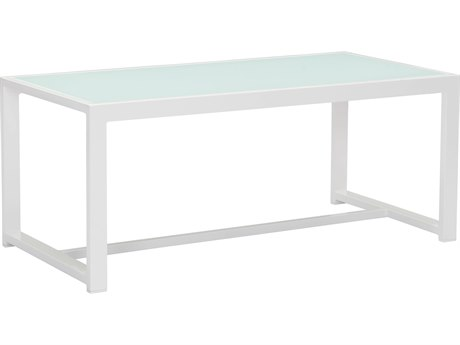 Zuo Outdoor Golden Beach Aluminum 39.4 x 19.7 Rectangular Coffee Table in White PatioLiving