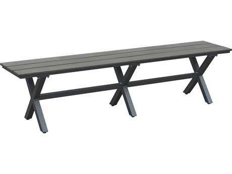 Zuo Outdoor Bodega Aluminum Polywood Bodega Bench Industrial in Gray & Brown