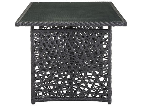 Zuo Outdoor Santa Cruz Aluminum Synethetic Weave 70 x 35.50 Rectangular Glass Top Dining Table