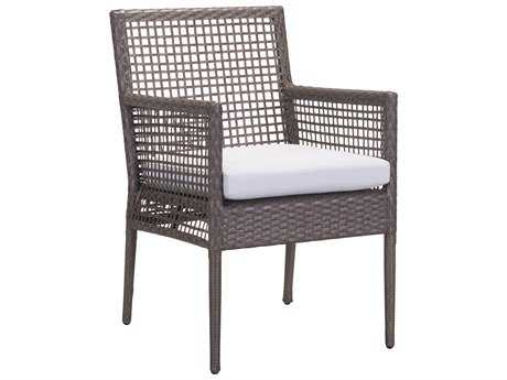 Zuo Outdoor Coronado Aluminum Wicker Dining Chair in Cocoa & Light Gray (Sold in 2)