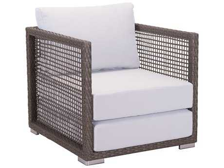 Zuo Outdoor Coronado Aluminum Wicker Arm Chair in Cocoa & Light Gray