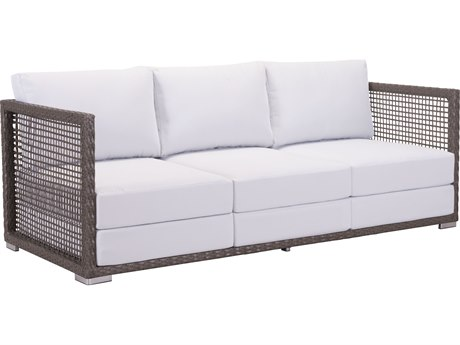 Zuo Outdoor Coronado Aluminum Wicker Sofa in Cocoa & Light Gray PatioLiving