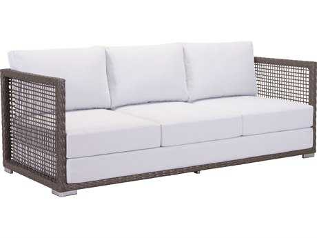 Zuo Outdoor Coronado Aluminum Wicker Sofa in Cocoa & Light Gray