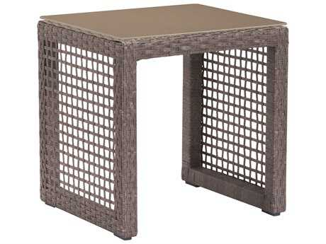 Zuo Outdoor Coronado Aluminum Wicker 17.9 x 15.9 Square Glass Top End Table in Cocoa
