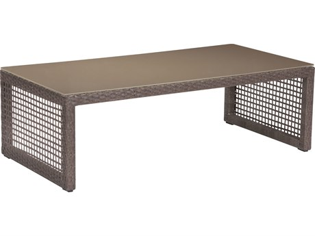 Zuo Outdoor Coronado Aluminum Wicker 47.2 x 23.6 Rectangular Glass Top Coffee Table in Cocoa PatioLiving