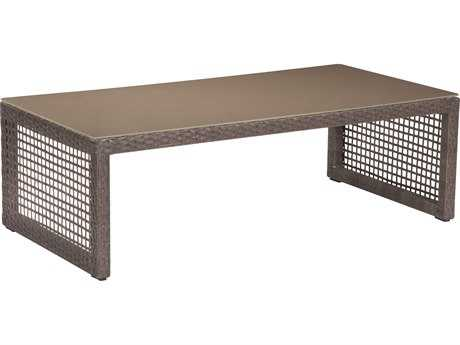 Zuo Outdoor Coronado Aluminum Wicker 47.2 x 23.6 Rectangular Glass Top Coffee Table in Cocoa