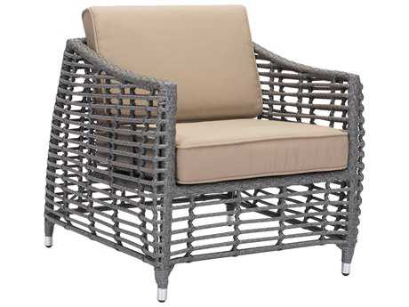 Zuo Outdoor Trek Beach Aluminum Wicker Arm Chair in Gray & Beige