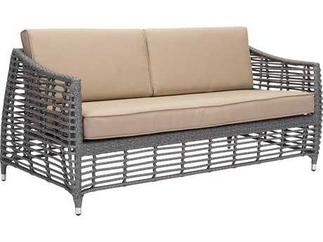 Zuo Outdoor Trek Beach Aluminum Gray & Beige Wicker Loveseat