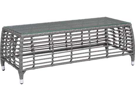 Zuo Outdoor Trek Beach Aluminum Wicker 48 x 20.50 Rectangular Glass Top Coffee Table in Gray & Beige