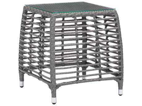 Zuo Outdoor Trek Beach Aluminum Wicker 20 Square Glass Top Side Table in Gray & Beige