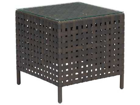 Zuo Outdoor Pinery Aluminum Wicker 22 Square Glass Top Side Table in Brown