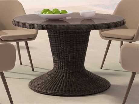 Zuo Outdoor Noe Aluminum Wicker 48 Round Glass Top Dining Table in Brown