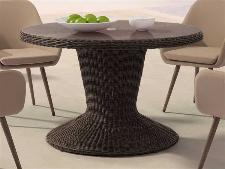zuo outdoor noe aluminum wicker 48 round glass top dining table in brown 703831. Black Bedroom Furniture Sets. Home Design Ideas