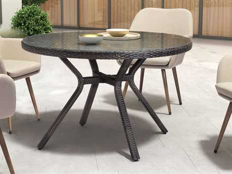 Zuo Outdoor Mendocino Aluminum Synethetic Weave 48 Round Glass Top Dining Table in Brown