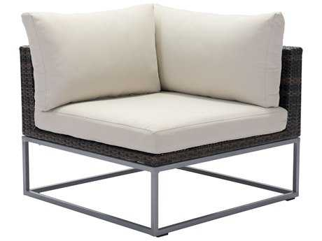 Zuo Outdoor Malibu Aluminum Wicker Corner in Brown & Beige