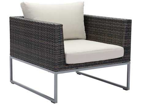 Zuo Outdoor Malibu Aluminum Wicker Arm Chair in Brown & Beige