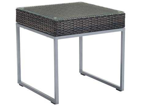Zuo Outdoor Malibu Aluminum Synethetic Weave 22 Square Glass Top Side Table in Brown & Silver