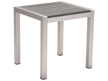 Zuo Outdoor Cosmopolitan Aluminum 20 x 18 Rectangular Faux Wood Top Side Table PatioLiving