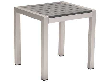 Zuo Outdoor Cosmopolitan Aluminum 20 x 18 Rectangular Faux Wood Top Side Table