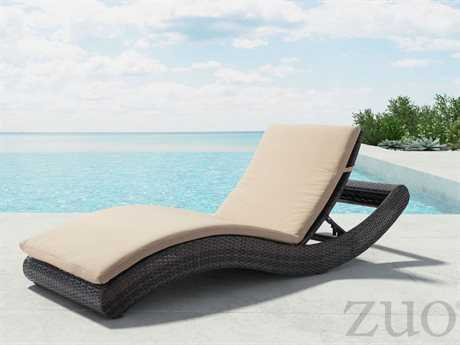 Zuo Outdoor Pamelon Beach Aluminum Wicker Beach Chaise Lounge in Brown & Beige PatioLiving