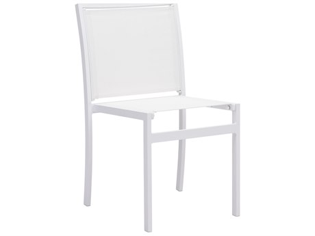 Zuo Outdoor Mayakoba Aluminum Mesh Dining Chair in White Set of Two PatioLiving