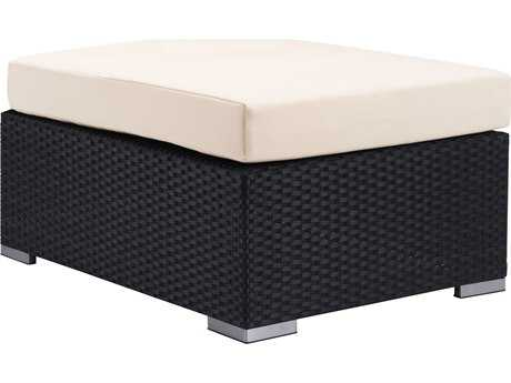 Zuo Outdoor Cartagena Aluminum Wicker Ottoman in Espresso & Beige