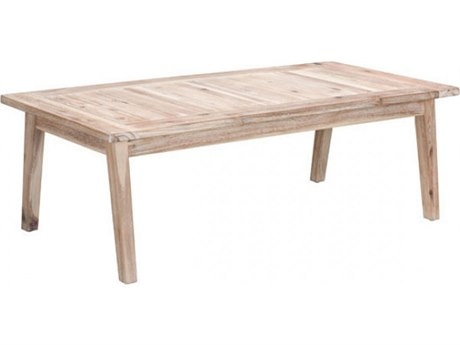 Zuo Outdoor South Port Acacia Wood 47.2 x 23.6 Rectangular Coffee Table in White Wash
