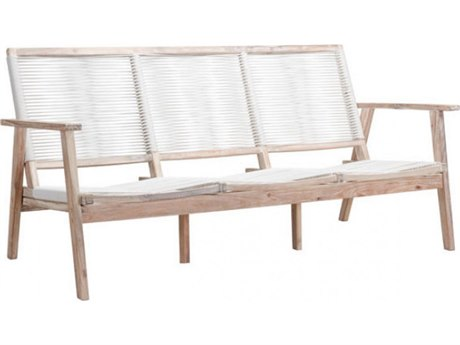 Zuo Outdoor South Port Acacia Wood Sofa in White Wash & White