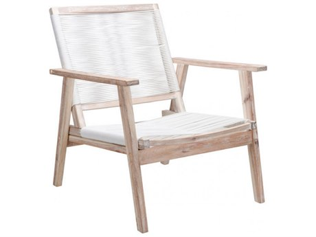 Zuo Outdoor South Port Acacia Wood Arm Chair in White Wash & White