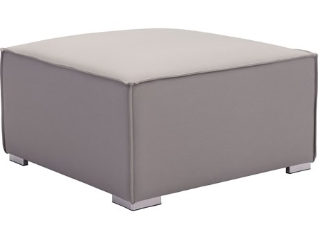 Zuo Outdoor Fiji Aluminum Ottoman in Gray PatioLiving