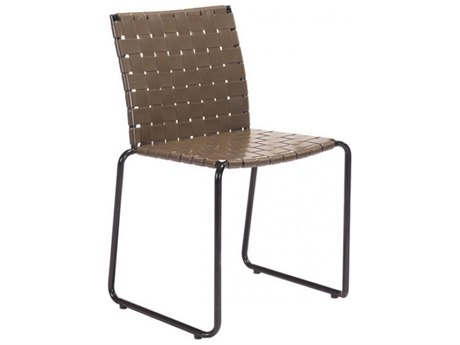 Zuo Outdoor Beckett Steel Strap Dining Side Chair in Espresso - Sold in Multiples of 4 Only