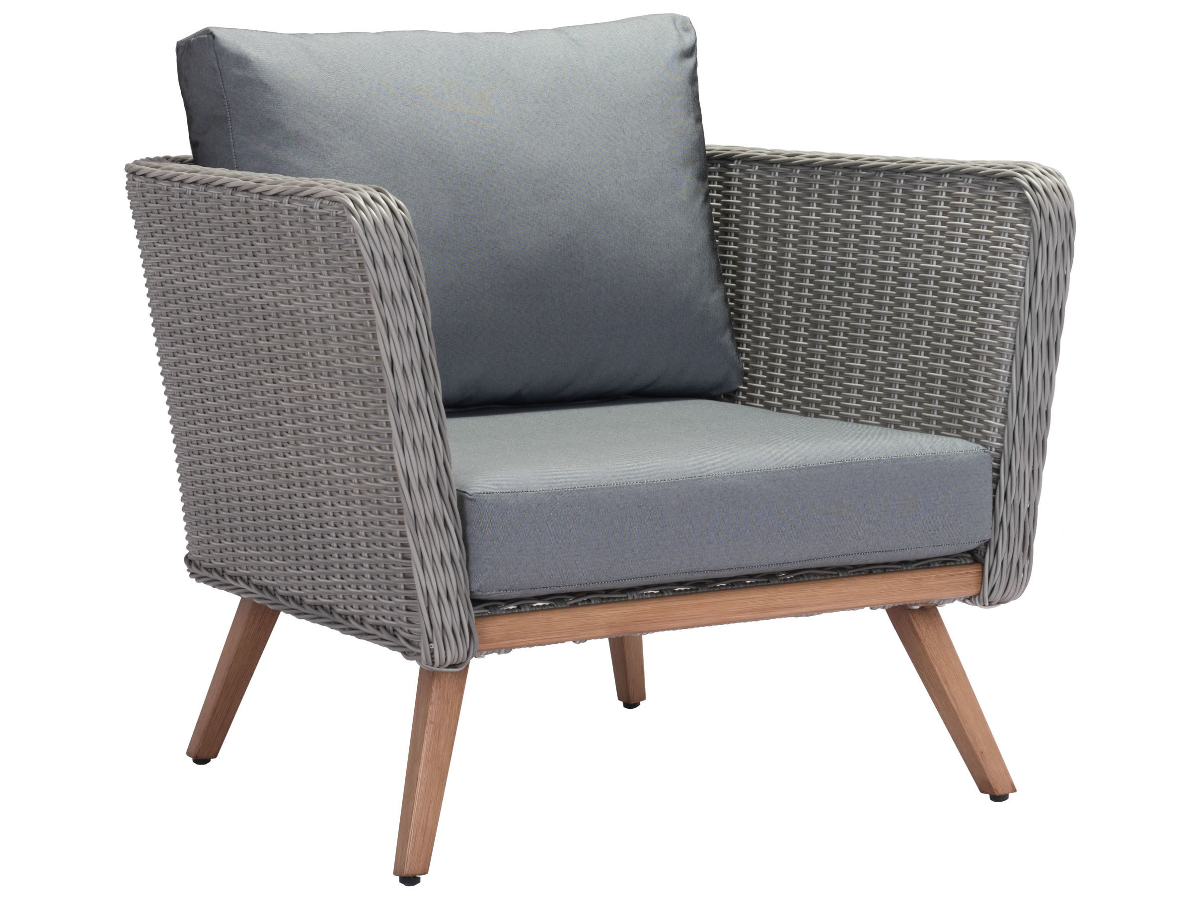 Sensational Zuo Outdoor Monaco Wicker Lounge Chair In Natural Gray Pabps2019 Chair Design Images Pabps2019Com