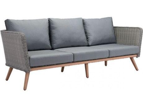 Zuo Outdoor Monaco Wicker Sofa in Natural & Gray