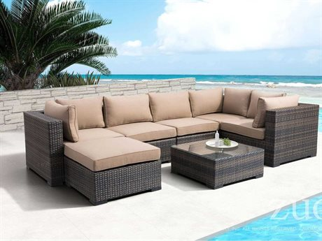 Zuo Outdoor Bocagrande Aluminum Wicker Sectional Lounge Set