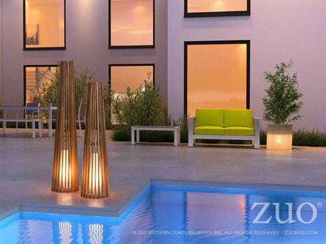 Zuo Outdoor Cosima Teak Floor Lamp Set