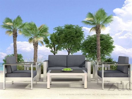 Zuo Outdoor Cosmopolitan Aluminum Lounge Set