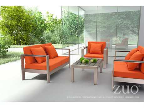 Zuo Outdoor Cosmopolitan Aluminum Conversation Lounge Set
