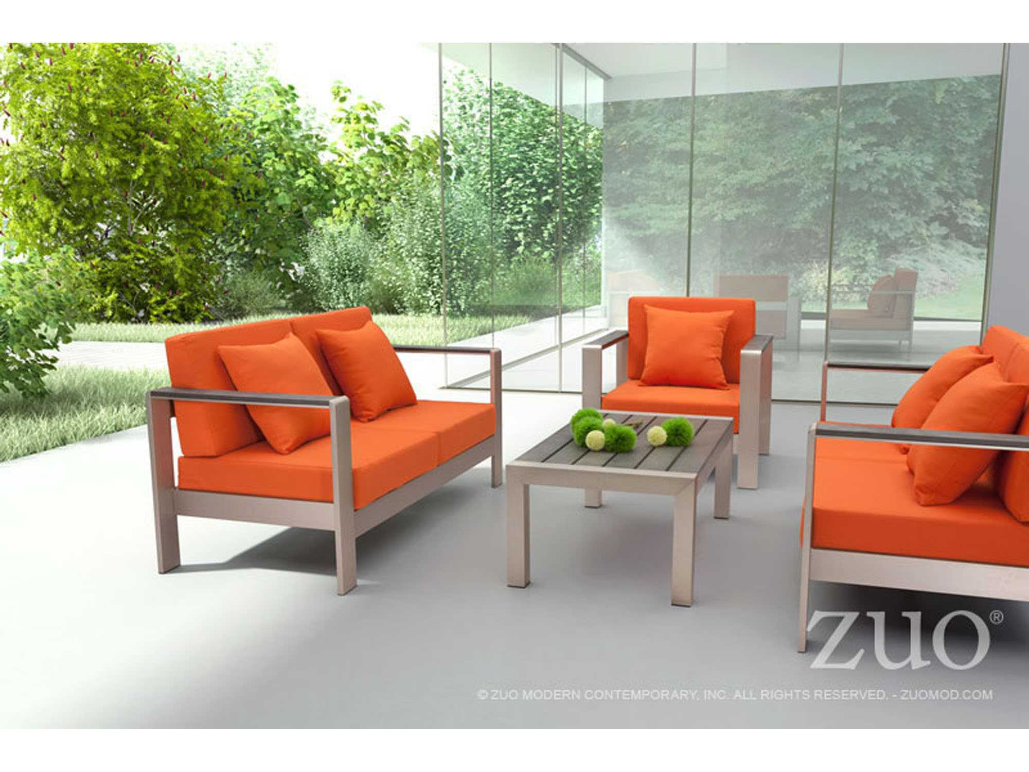 Zuo Outdoor Cosmopolitan Aluminum Conversation Lounge Set