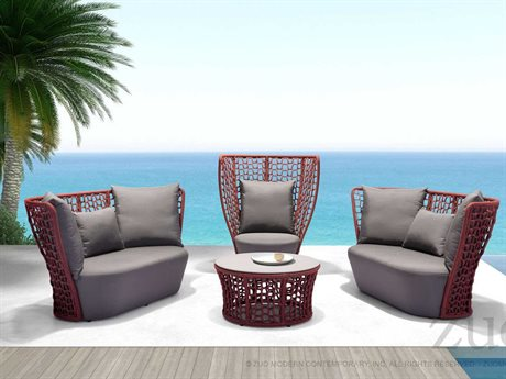Zuo Outdoor Faye Bay Beach Aluminum Acrylic Fiber Lounge Set