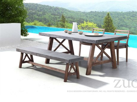 Zuo Outdoor Ford Acacia Wood Poly-cement Dining Set
