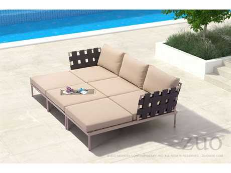 Zuo Outdoor Glass Beach Aluminum Lounge Set