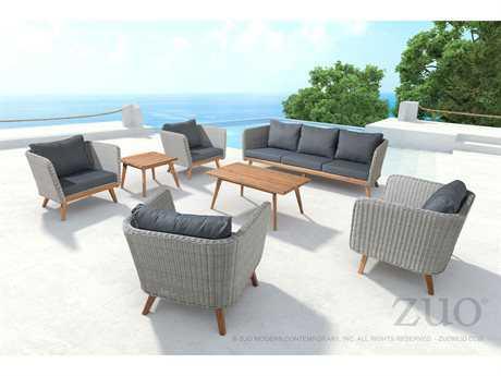 Zuo Outdoor Grace Bay Acacia Wood Wicker Lounge Set