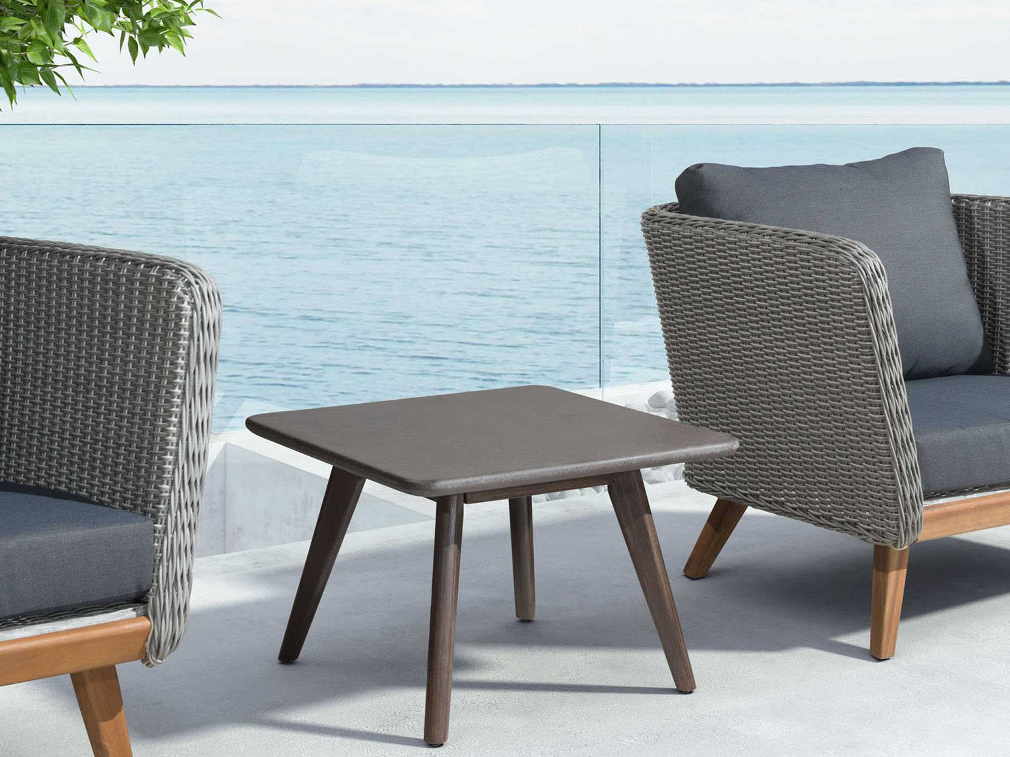 Zuo Outdoor Daughter Acacia Wood 23 60 Square Poly Cement Top