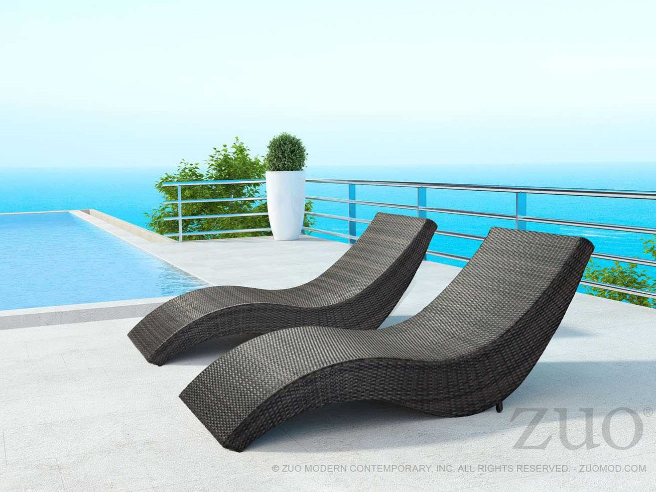 Zuo outdoor hassleholtz beach aluminum wicker beach chaise for Beach lounge chaise