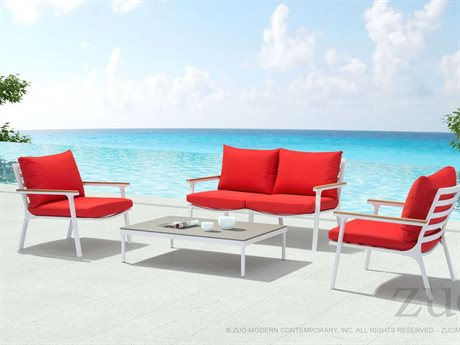 Zuo Outdoor Maya Beach Aluminum Teak Lounge Set