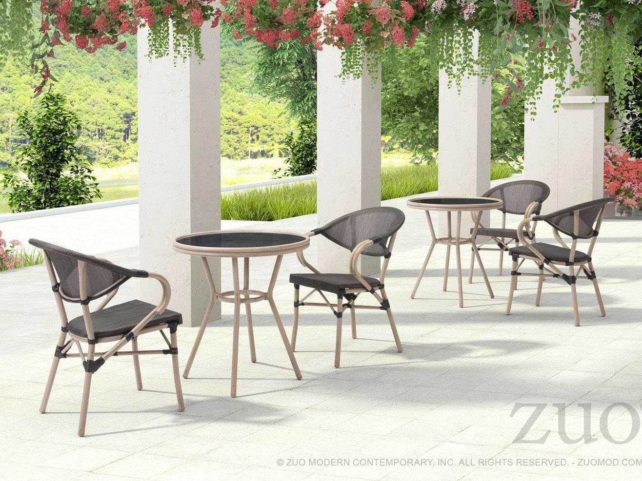 Zuo Outdoor Marseilles Aluminum 2740 Round Glass Top Bistro Table