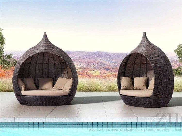 Zuo Outdoor Martinique Beach Aluminum Polyurethane Wicker Weave Lounge Set